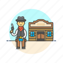 cowboy, gun, hat, history, man, tavern, west, wild icon