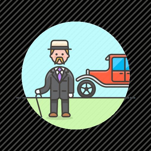 car, european, formal, gentleman, history, man, retro icon