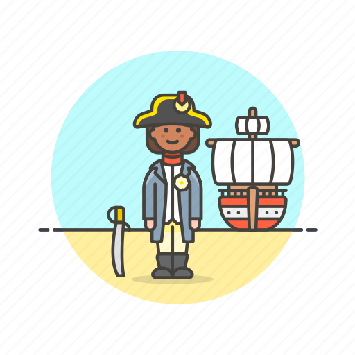 general, hat, history, navy, outlaw, ship, woman icon