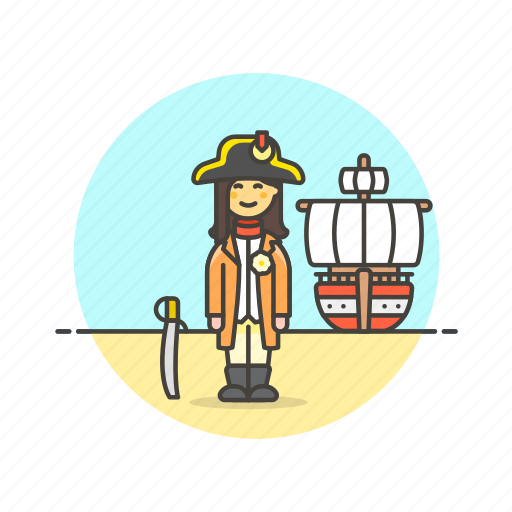 general, hat, history, navy, outlaw, ship, sword, woman icon