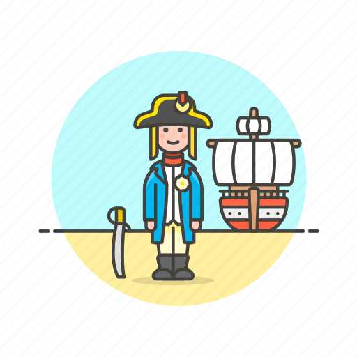 general, hat, history, navy, outlaw, ship, sword, treasure icon