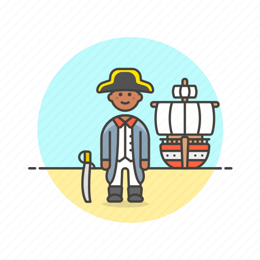 general, hat, history, navy, outlaw, ship, sword icon