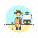 general, hat, history, man, navy, outlaw, ship, sword icon