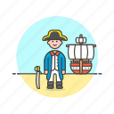 general, hat, history, man, navy, outlaw, ship icon