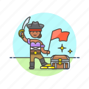 chest, flag, hat, history, loot, pirate, treasure, woman icon