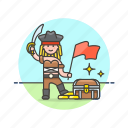 chest, flag, history, loot, pirate, sword, treasure, woman icon