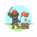 chest, flag, history, loot, pirate, swird, treasure icon