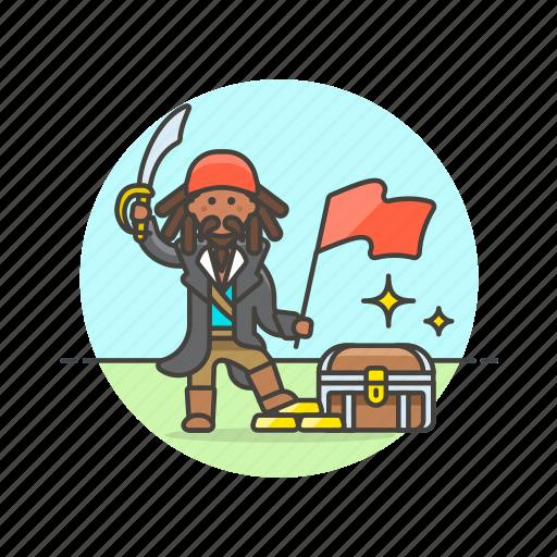 chest, flag, history, loot, pirate, swird, treasure icon