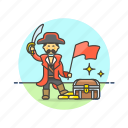 chest, flag, hat, history, loot, outlaw, pirate, treasure icon