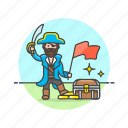 chest, flag, history, loot, outlaw, pirate, treasure icon