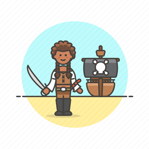 boat, history, outlaw, pirate, ship, sword, woman icon