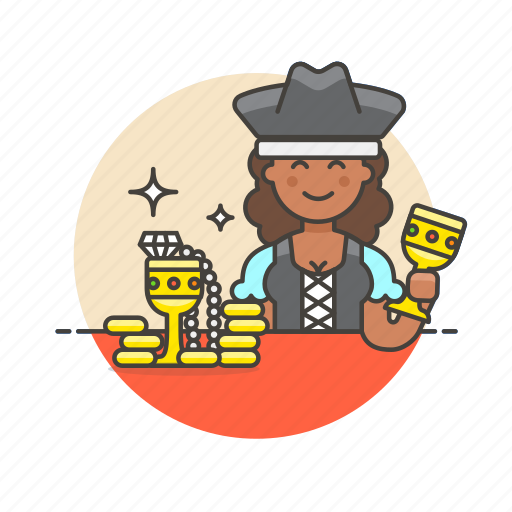 gold, hat, history, outlaw, pirate, treasure, woman icon