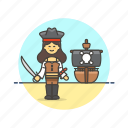 hat, history, outlaw, pirate, ship, sword, woman icon