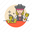 avatar, gold, hat, history, pirate, treasure, woman icon