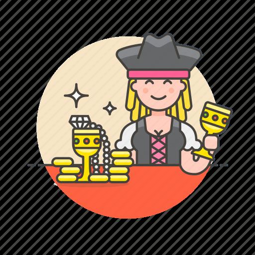 avatar, gold, hat, history, pirate, treasure, woman icon