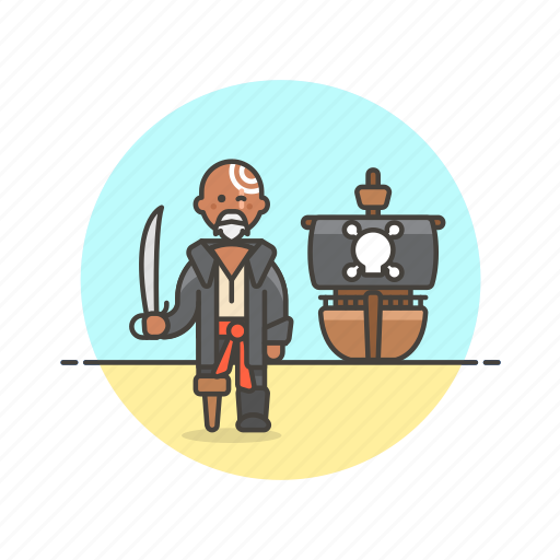 beard, history, man, outlaw, pirate, ship, sword, tattoo icon