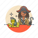 gold, history, hook, loot, outlaw, pirate, treasure, woman icon
