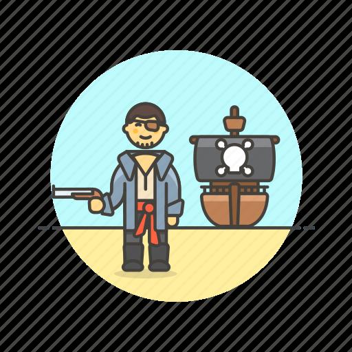 dangerous, gun, history, man, outlaw, pirate, ship icon
