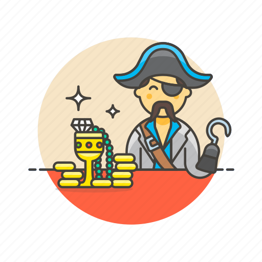 gold, hat, history, hook, man, pirate, treasure icon