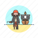 hat, history, hook, man, outlaw, pirate, ship icon