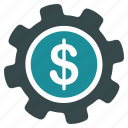 dollar, financial, gear, options, payment, settings, tools icon