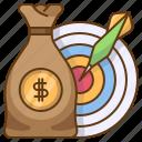 target, money, bag, coins, wealth