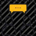 communication, discussion, conversation