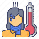 girl, fever, thermometer