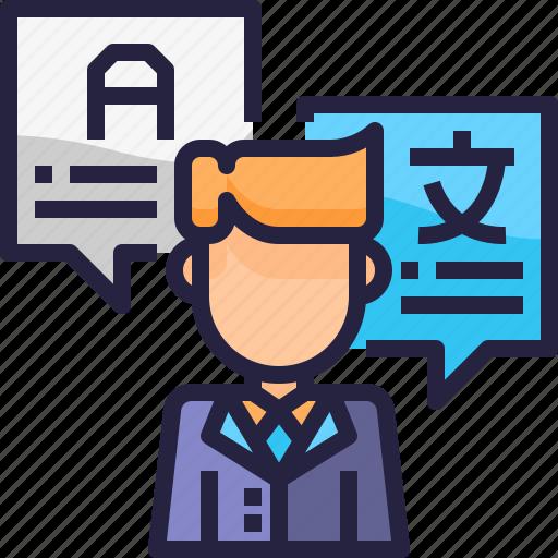 communication, interpreter, job, message, people, translate icon