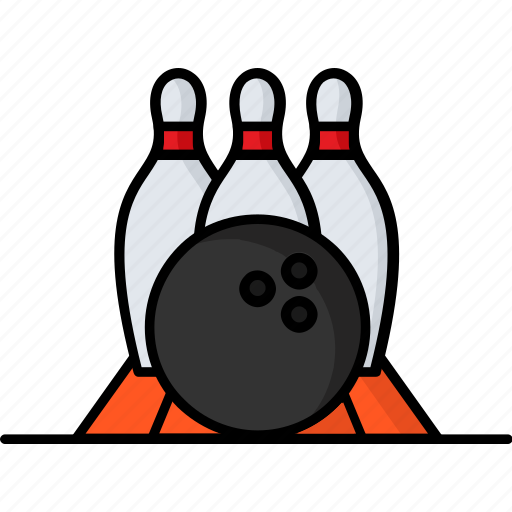 ball, bowling, filled, hobby, sport, strike icon