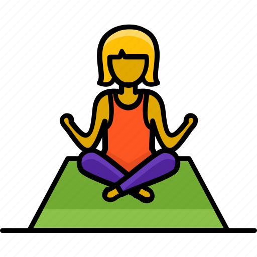 filled, hobby, meditation, pose, relaxation, yoga icon