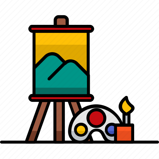 art, artistic, canvas, draw, filled, hobby, paint icon