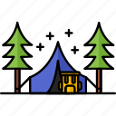 adventure, camping, filled, forest, hobby icon