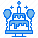 balloon, birthday, cake, candle, party icon