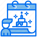 birthday, cake, calendar, noted, party, person icon