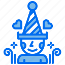 hat, love, party, person icon