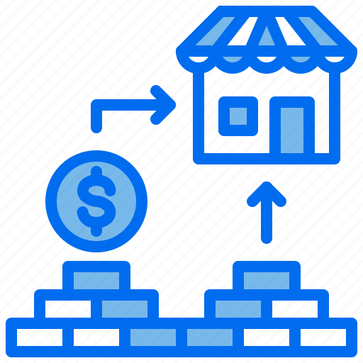 brick, coin, cost, house, money icon
