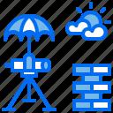 blueprint, brick, construction, telescope, umbrella icon