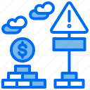 brick, coin, cost, sign, warning icon