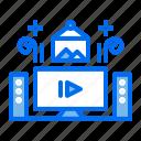 hotel, movie, sound, speaker, television, tv, watch icon