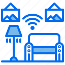 apartment, couch, lamp, signal, sofa, wifi icon