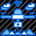 drone, mountain, quadcopter, signal, wifi icon