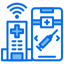 emergency, hospital, injection, online, phone, wifi icon
