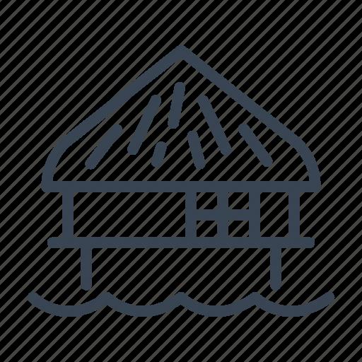bungalow, house, sea, stilt icon