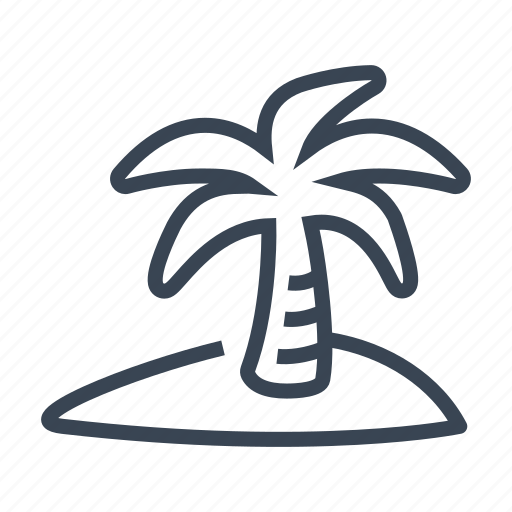 island, palm, paradise, tree icon