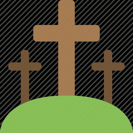 cross, crosses, jesus, religion, three icon