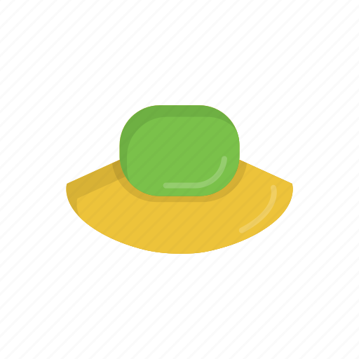 beach, floppy hat, green, hat, summer, summer hat, yellow icon