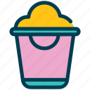 summer, bucket, scoop, sand, beach, shovel