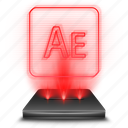 adobe, after, effects, hologram, holographic, red icon