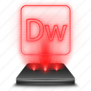 adobe, dreamweaver, hologram, red icon